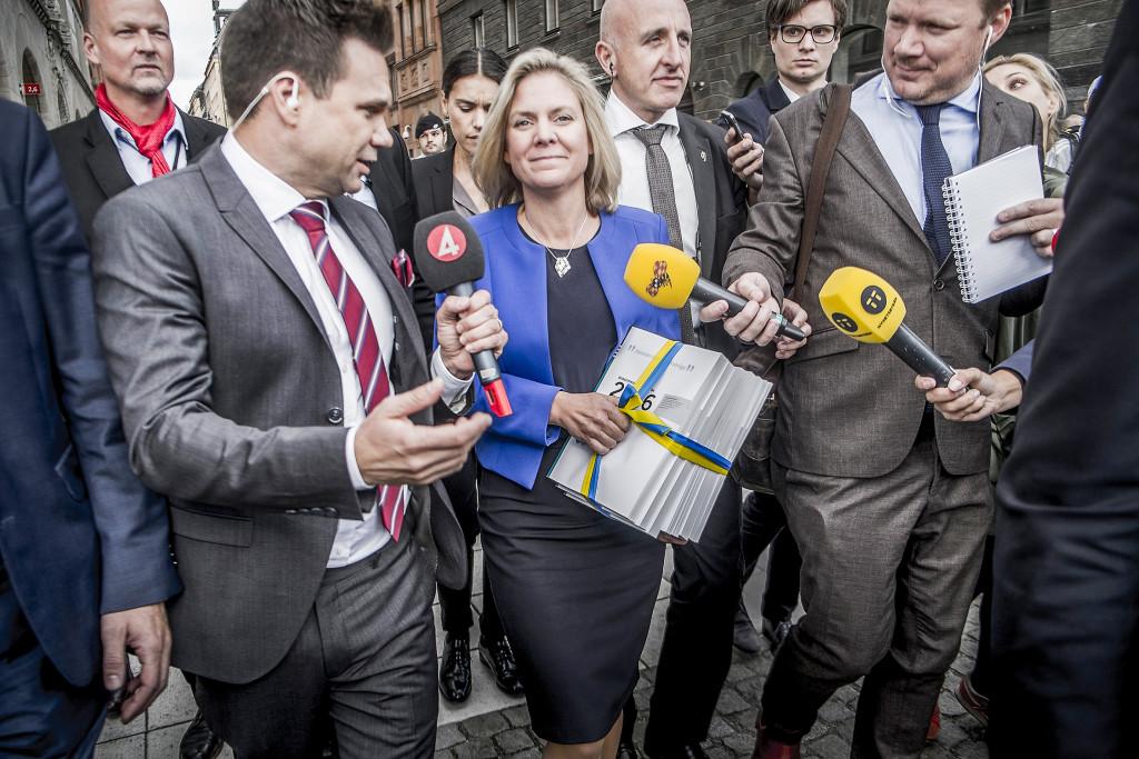 Finansminister Magdalena Andersson lade fokus på jobb, skola och klimat när hon presenterade budgeten. Foto: Magnus Hjalmarson Neideman/SvD/TT