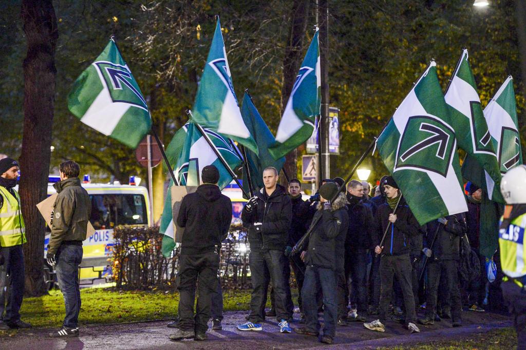 Den nazistiska organisationen Svenska motståndsrörelsen genomför en demonstration i Stockholm i november 2013. Foto: Jessica Gow/TT