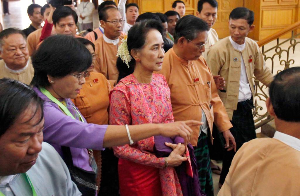 Aung San Suu Kyi närvarade förra veckan när Burmas nya parlament sammanträdde för första gången. Foto: AP Photo/Aung Shine Oo, File.