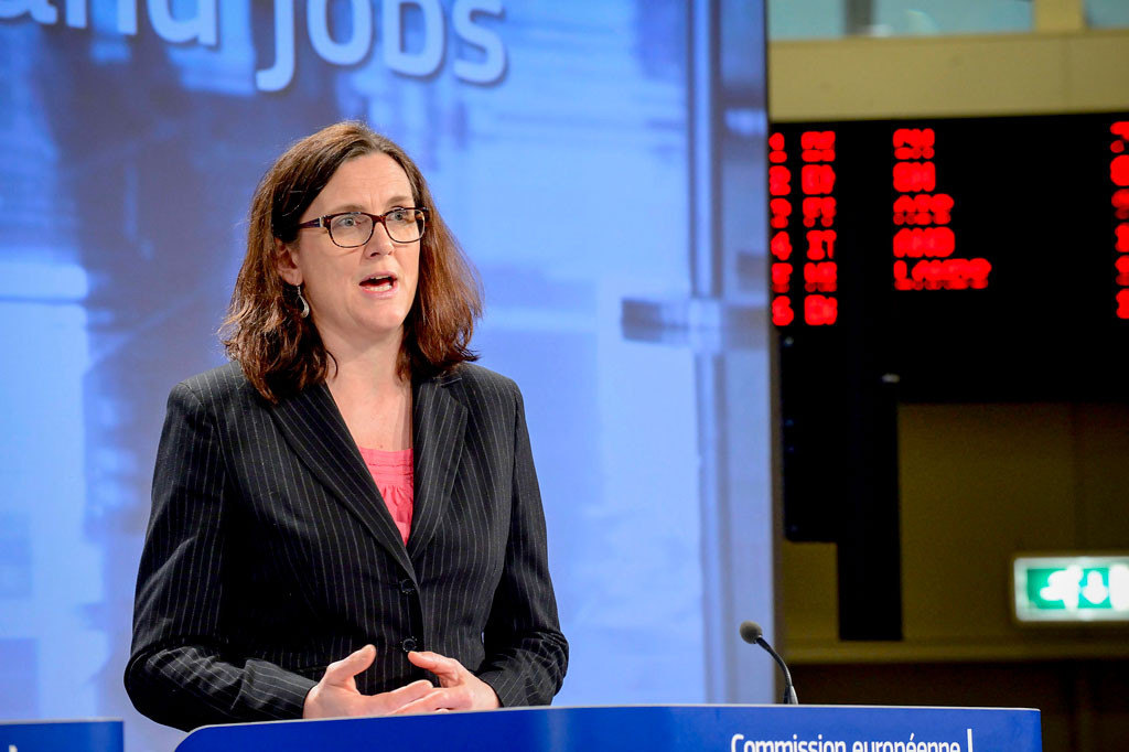 EU bygger inga murar, sa EU-kommissionär Cecilia Malmström för två år sedan. Det var inte sant ens då. Foto: Lieven Creemers/TT.