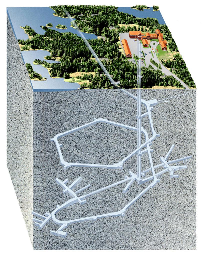 Illustration av Äspölaboratoriet utanför Oskarshamn där en stor del av forskningen inför slutförvaret sker. Enligt SKB liknar Äspötunneln till stor del det planerade slutförvaret. Grafik: J. Rojmar.